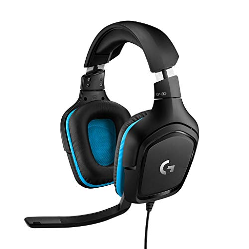 Logitech G432 Wired Gaming Headset, 7.1 Surround Sound, DTS Headphone:X 2.0, Flip-to-Mute Mic, PC (Leatherette) Black/Blue