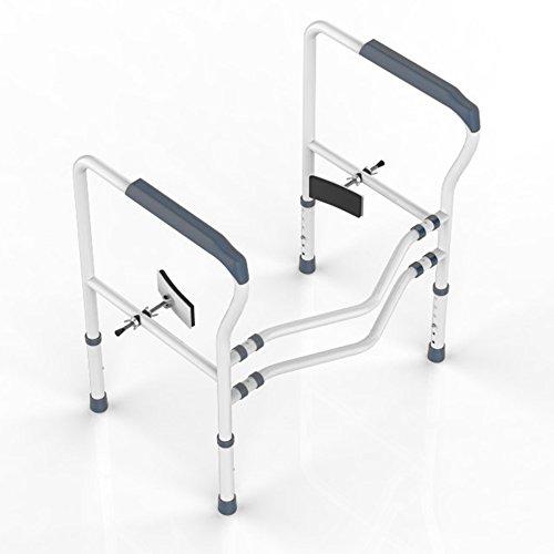 HEPO Improved Toilet Rail for Elderly Free Stand,Toilet Rails for Disabled,Toilet Handrail Grab Bar (Grey)