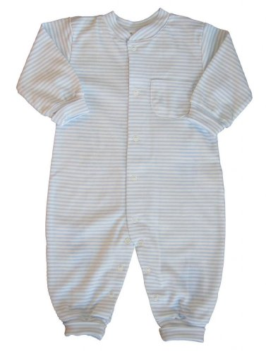 Kissy Kissy Baby Stripes Striped Playsuit-White with Blue-12-18 Months