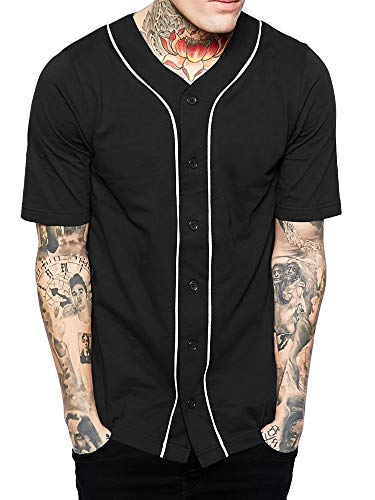 Hat and Beyond Mens Baseball Button Down Jersey (Medium, 01up01_Black/White)