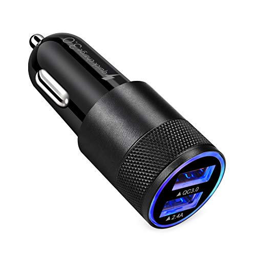 USB Fast Car Charger, HOOTEK Quick Charge 3.0 Dual Port Cigarette Lighter USB Charger Mini Flush Fit Car Adapter Compatible Samsung Galaxy S21 S20 FE S10e S9 S8 Note20 Ultra,iPhone 12/11/XS/XR/X/8,LG