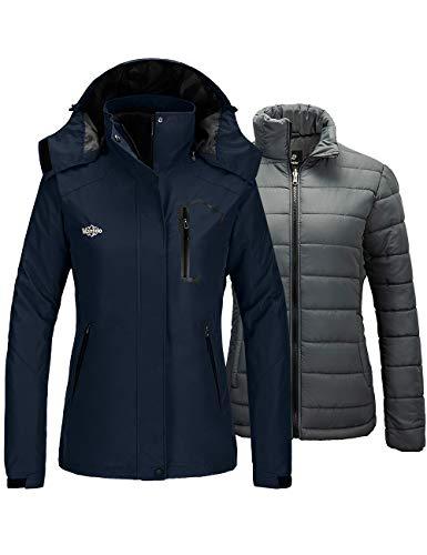 Wantdo Women's 3 in 1 Ski Jacket Windproof Fleece Parka Rain Coat Navy Medium
