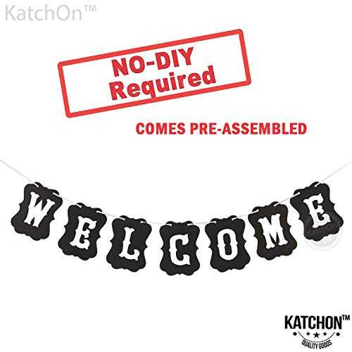 Welcome Banner Sign, Black Vintage - Large, DIY REQUIRED | Welcome Banner for Office | Great for Back to School Decorations and First Day of Classroom Decorations | Welcome Signs Black Party Flavors
