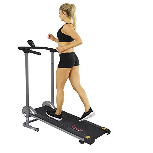 Sunny Health & Fitness SF-T1407M Manual Walking Treadmill, Gray