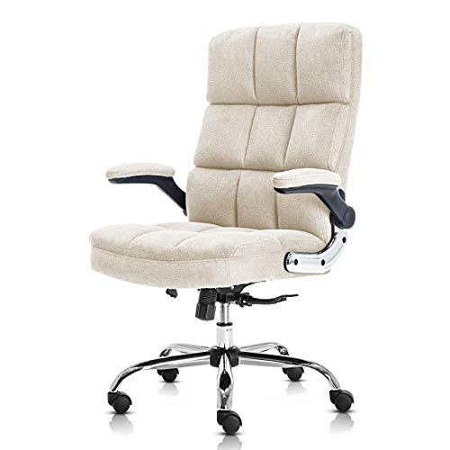 SP Velvet Office Chair Adjustable Tilt Angle and Flip-up Arms Executive Computer Desk Chair, Thick Padding for Comfort and Ergonomic Design for Lumbar Support (Beige)