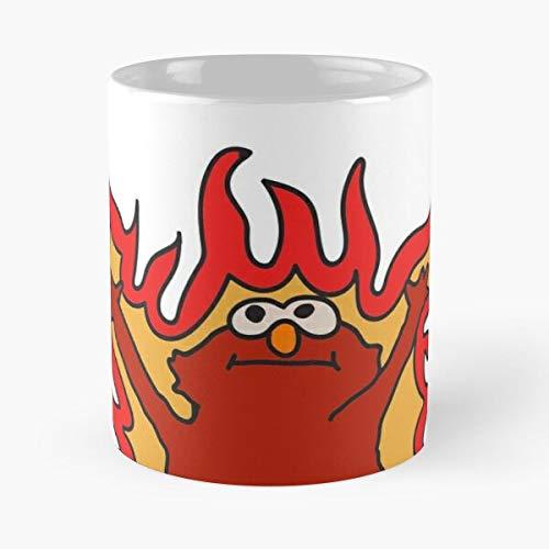 Meme Elmo Flaming Hellmo Fire Red - Best 11 Ounce Ceramic Mug - Classic Mug for Coffee, Tea, Chocolate or Latte