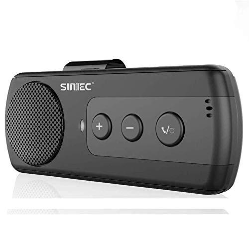 SUNITEC Hands Free Bluetooth Car Phone Kit - Wireless Bluetooth Car Speaker Support 2 Phones Connection Siri Google Assistant Car Bluetooth Receiver Handsfree Speakerphone with Visor Clip