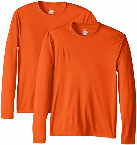 Hanes Men's Long Sleeve Cool Dri T-Shirt UPF 50+, X-Large, 2 Pack ,Safety Orange