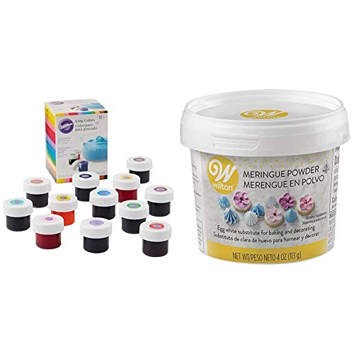 Wilton Icing Colors, 12-Count Gel-Based Food Color & Meringue Powder Egg White Substitute, 4 oz.