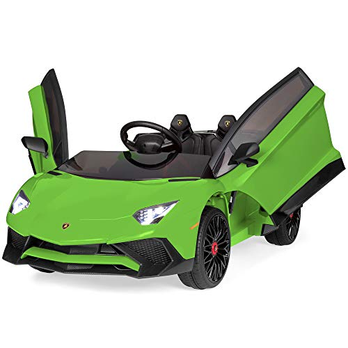 Best Choice Products Kids 12V Ride On Lamborghini Aventador SV Sports Car Toy w/ Parent Control, AUX Cable, 2 Speeds, LED Lights, Sounds - Green