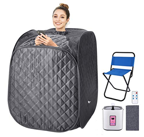 OppsDecor Portable Steam Sauna Spa, 2L Personal Therapeutic Sauna for Weight Loss Detox Relaxation at Home,One Person Sauna with Remote Control,Foldable Chair,Timer(US Plug) (Gray) (Grey)
