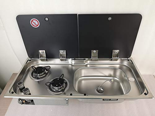 GR-904RD Boat Caravan RV Camper 2 Burner LPG Gas Stove Hob and Sink Comb with 2 Tempered Glass Lids (Sink/Stove and Faucet)