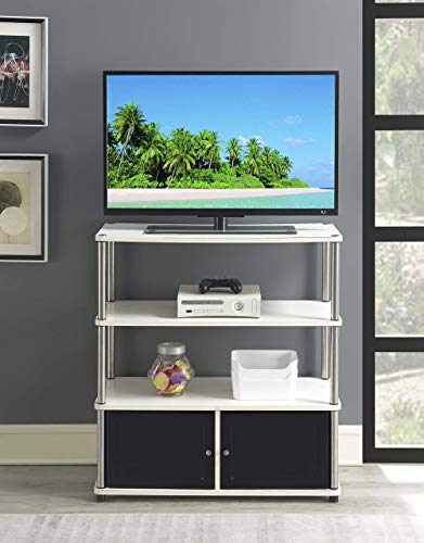 Convenience Concepts Designs2Go Highboy TV Stand, White / Black Doors