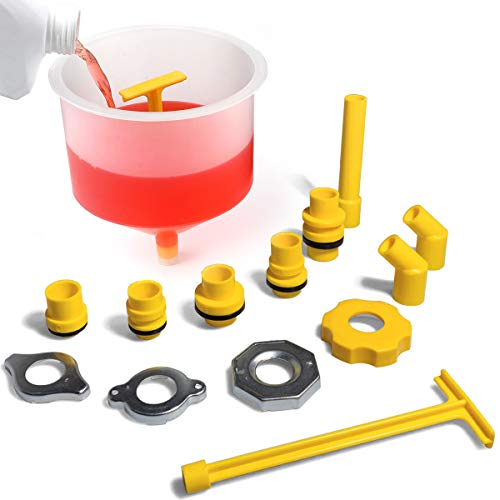 Thorstone Spill Free Radiator Coolant Filling Funnel Kit   No Spill Radiator Funnel Bleeder,with Adapters Fit Universal Vehicles,Clear