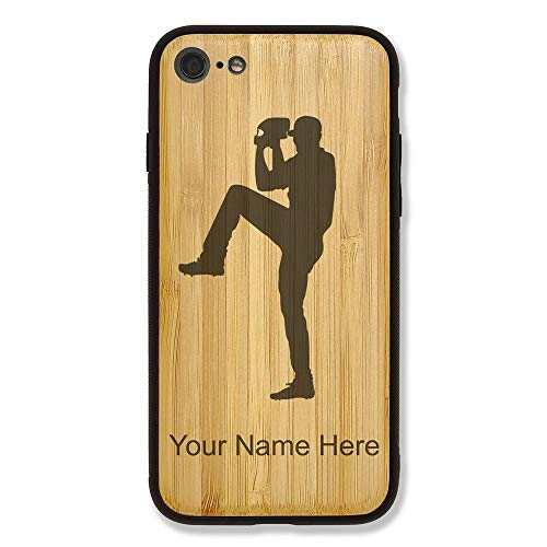 Case Compatible with iPhone 6 and iPhone 6s, Baseball Pitcher, Personalized Engraving Included (Bamboo), Includes Screen Protector