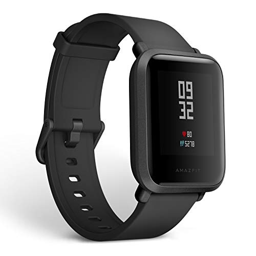 Amazfit Bip Fitness Smartwatch, All-Day Heart Rate and Activity Tracking, Sleep Monitoring, Built-In GPS, 45-Day Battery Life, Bluetooth, Onyx Black