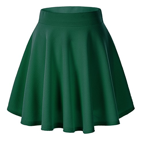 Urban CoCo Women's Basic Versatile Stretchy Flared Casual Mini Skater Skirt (Large, Green)