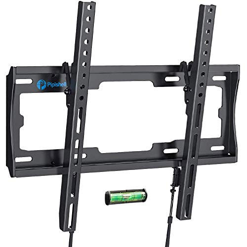 Tilt TV Wall Mount Bracket Low Profile for Most 23-55 Inch LED LCD OLED Plasma Flat Curved Screen TVs, 8 Degrees Tilting for Anti-Glaring, Max VESA 400x400mm and Holds up to 99lbs by Pipishell