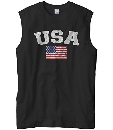 Cybertela Men's Faded Distressed USA Flag Sleeveless T-Shirt (Black, X-Large)