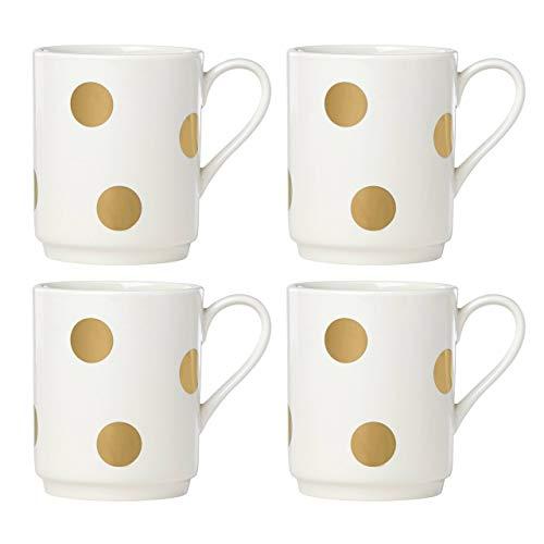 Kate Spade New York Deco Dot Gold Mugs, Set of 4