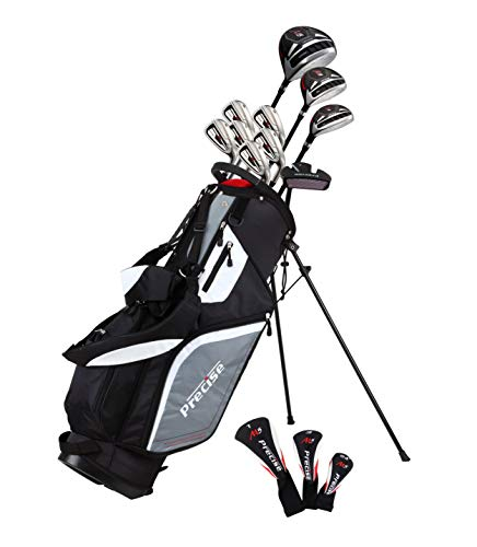 Top Line Men's Right Handed M5 Golf Club Set for Tall Men ( Height 6'1' - 6'4'), Includes Driver, Wood, Hybrid, 5, 6, 7, 8, 9, PW Stainless Irons with True Temper Shafts, Putter, Stand Bag & 3 HCs