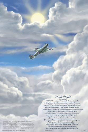 Lweike Laminated High Flight Poem Poster 24x36