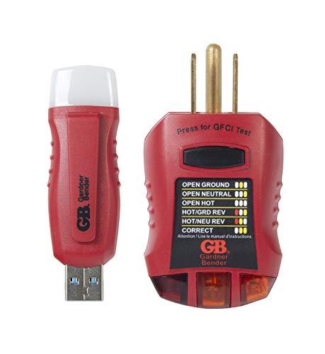 Gardner Bender EGB-1 USB GFCI Outlet Tester Kit, Red