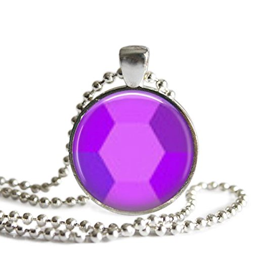 Steven Universe 1 inch Silver Plated Picture Pendant Amethyst Necklace