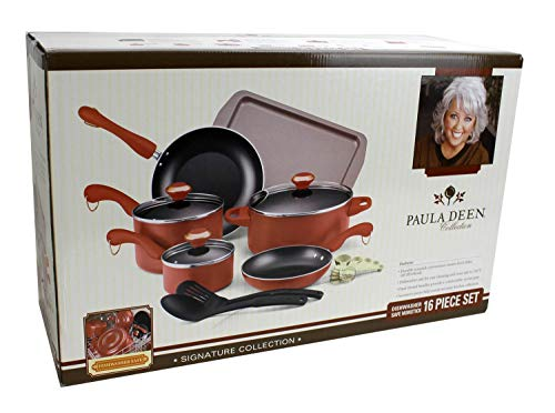Paula Deen Signature Dishwasher Safe Cookware Sets (Pink, 15- Piece)