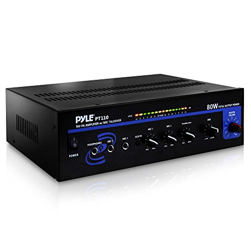 Compact Public Address Mono Amplifier - Professional 50W Mini Home Power Audio Sound PA Speaker Receiver System w/ RCA, Headphone, 2 Microphone Inputs, Independent Volume Control - Pyle PT110