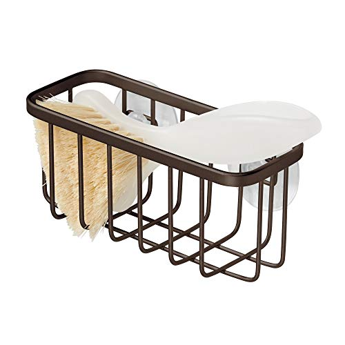 iDesign Gia Sink Suction Holder for Sponges, Scrubbers, Soap in Kitchen, Bathroom, Bathtubs, 5.75' x 2.25' x 2.5' - Bronze