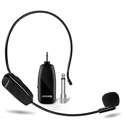 Wireless Microphone Headset, Uhf Wireless Headset Mic System, 160ft Range, Headset Mic and Handheld Mic 2 in 1, 1/8''&1/4'' Plug, for Speakers, Voice Amplifier, Pa System-Not Supported Phone, Laptop
