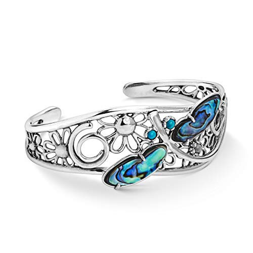 American West Sterling Silver Abalone and Turquoise Gemstone Fritz Casuse Dragonfly Cuff Bracelet Size Large