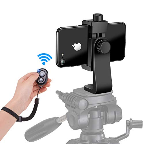 Phone Tripod Mount Adapter with Camera Remote and Wrist Strap, Universal Cell Phone Tripod Mount Holder, Swivel Design, Compatible with iPhone, Samsung, Selfie Monopod, for Taking Photos and Videos