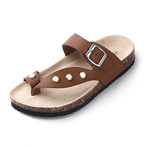 SANDALUP Women's Soft Ring Toe Flip Flop Inlaid with Pearls Flat Cork Sandals Brown 09