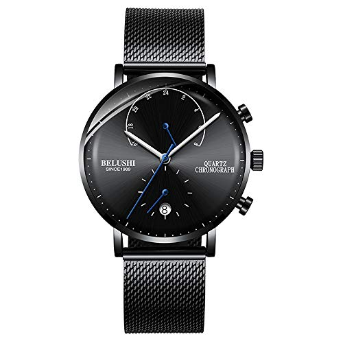 Watch for Men, Fashionable Classic Minimalist Watch Men's Waterproof Wrist Watch with Stainless Steel Strap