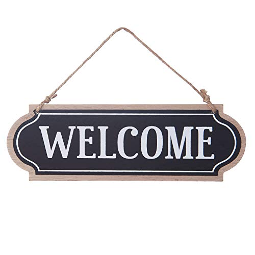 11.8x3.8 inches Wood Jute Rope Hanging Welcome Sign Plaque for Home Decor (Black)