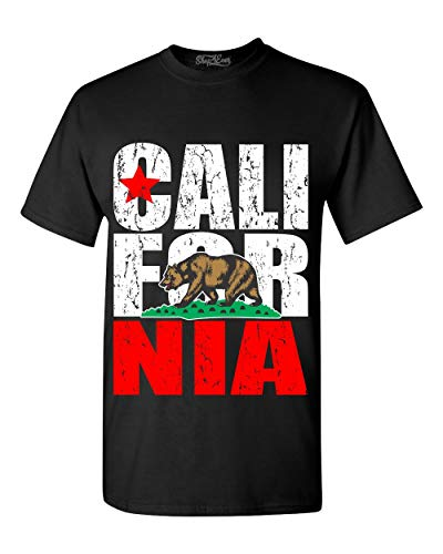 shop4ever California State Flag Bear T-Shirt Large Black 99