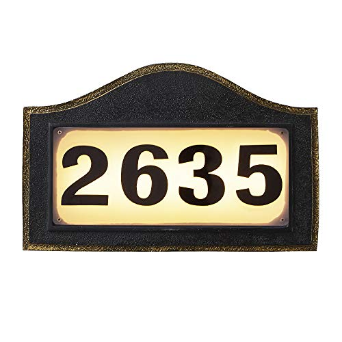 Melunar Solar Powered Address Numbers Signs, Lighted House Address Numbers Sign, Waterproof Resin Plaque Outdoor Lights for Houses, Garden, Street, Yard and Home
