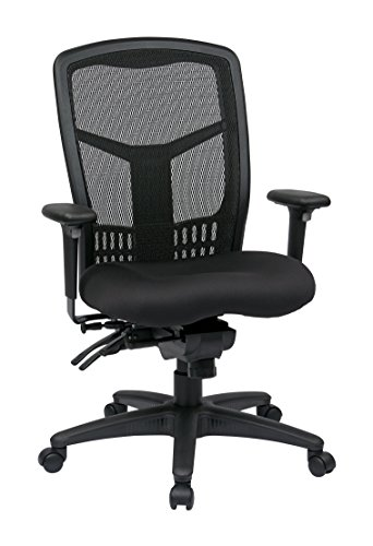 Office Star ProGrid High Back Managers Chair with Adjustable Arms, Multi-Function and Seat Slider (Black)