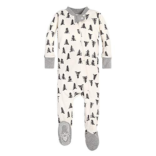 Burt's Bees Baby baby girls Unisex Pajamas, Zip-front Non-slip Footed Pjs, Organic Cotton and Toddler Sleepers, Trees, 18 Months US