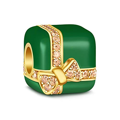Gnoce Christmas Present Box Charm Bead 925 Sterling Silver Green and Gold Charm for Bracelet/Necklace Christmas Gifts
