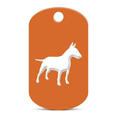fagraphix Bull Terrier Keychain GI Dog Tag Engraved Canine pet Orange