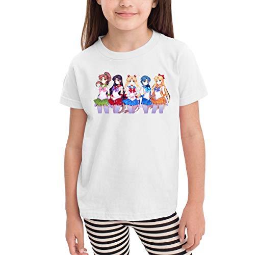 Kemeicle Children Newest Sailor Moon Silhouette Little Girls&Boys Short Sleeve Tee Shirt White