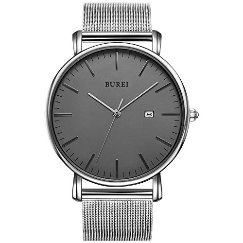 BUREI Men's Fashion Minimalist Wrist Watch Analog Deep Gray Date with Silver Stainless Steel Mesh Band (Gray Silver)