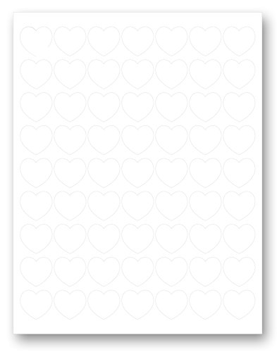 1' Heart Shape White Matte Labels, Designed to Seal Envelopes, Fancy Shape Stickers (10 Full Sheets, 630 Labels)