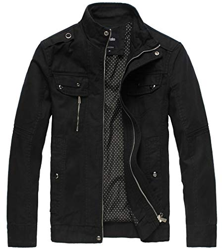 Wantdo Men's Cotton Stand Collar Lightweight Front Zip Jacket Black,Medium