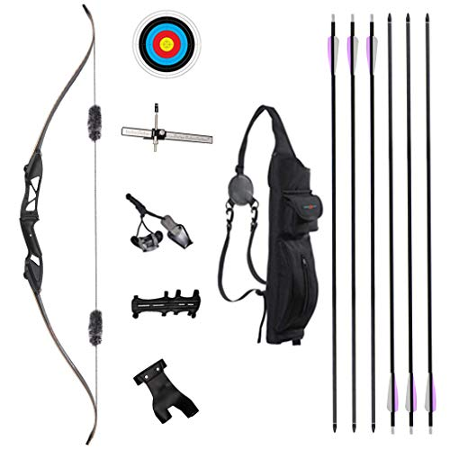 TOPARCHERY Archery 56' Takedown Hunting Recurve Bow and Arrow Set Metal Riser Right Hand Black Longbow Kit with 6Pcs Carbon Arrows Right Hand (40)
