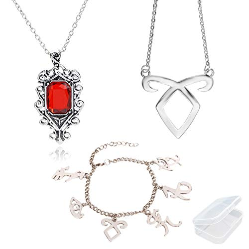PPX 3 Pcs The Mortal Instruments City of Bones Inspired Angelic Power Rune Symbols Bracelet and Necklace Set with Jewelry Box