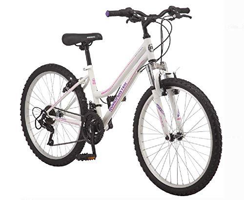 Roadmaster 24' Granite Peak Girls' Bike | Front and Rear Handbrakes | Knobby Mountain-Style Tires (White)